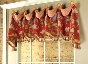 Sample Cuff Top Valance Red with Tassel Trim